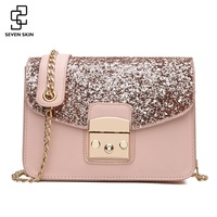 SEVEN SKIN Women Sequined Messenger Bag Fashion Women S Leather Small Flap Bag Chain Strap Female