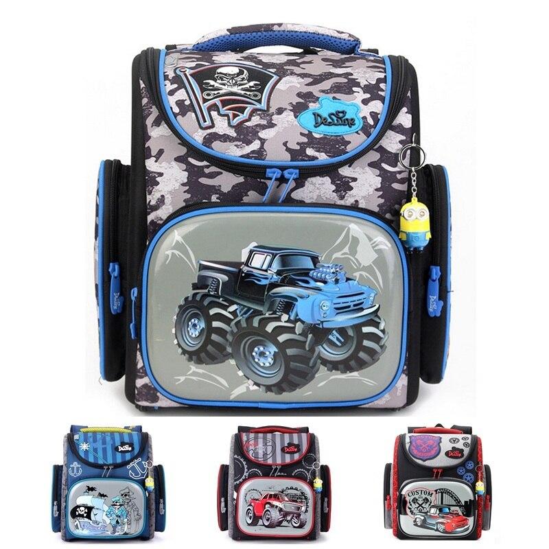 Delune Big Large Capacity 3D Racing Cars Backpack Motorcycle Printing School Bags Children Bag Orthopedic Backpacks