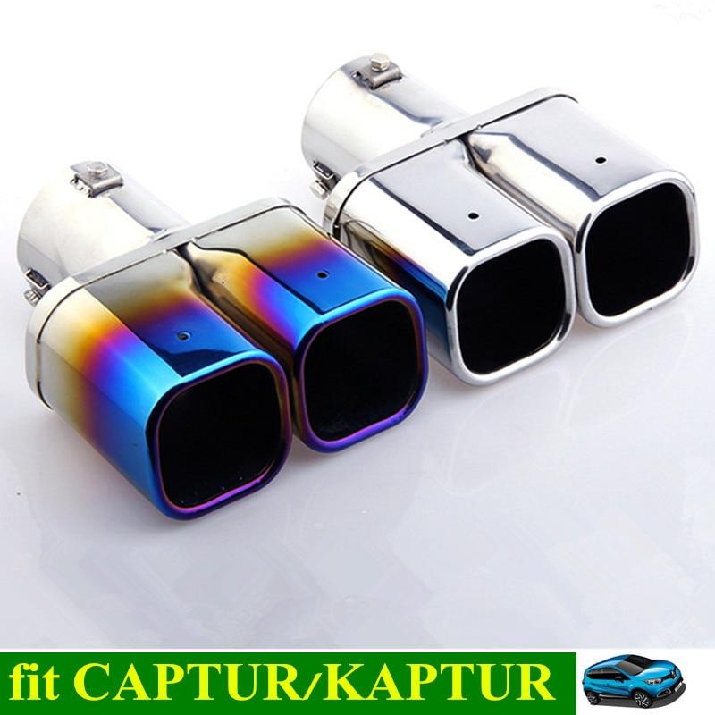 Nouveau CAPTUR voiture queue tuyau d'échappement en acier inoxydable tuyau d'échappement queue tuyau silencieux pour RENAULT Captur Kaptur QM3