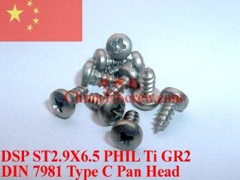 Титановый винт 2,9X6,5 DIN 7981 с полукруглой головкой, Самонарезающий 50 шт. Ti GR2