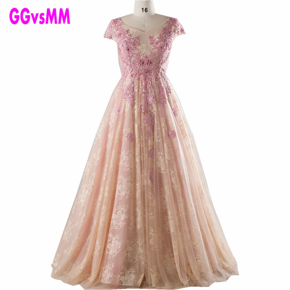 ᓂreal Photos Elegant Pearl Pink Lace Plus Size Evening Dress 2018