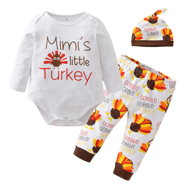 fa770276a5a5 Newborn Baby Boy Girl Clothing Set Thanksgiving Suit Long Sleeve Cartoon  Turkey Romper Tops Pants Leggings Hat 3pcs Outfits Set