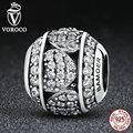Voroco 100% 925 encantos de plata esterlina con corazón cristales beads fit pandora pulseras del encanto original de plata 925 joyería de moda