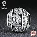 Voroco 100% 925 encantos de prata esterlina com coração cristais beads fit pandora original charm pulseiras 925 moda jóias de prata