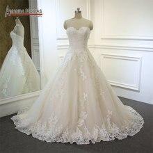 חלוק רוז סטרפלס תחרת Applique פשוט אלגנטי חתונה שמלה
