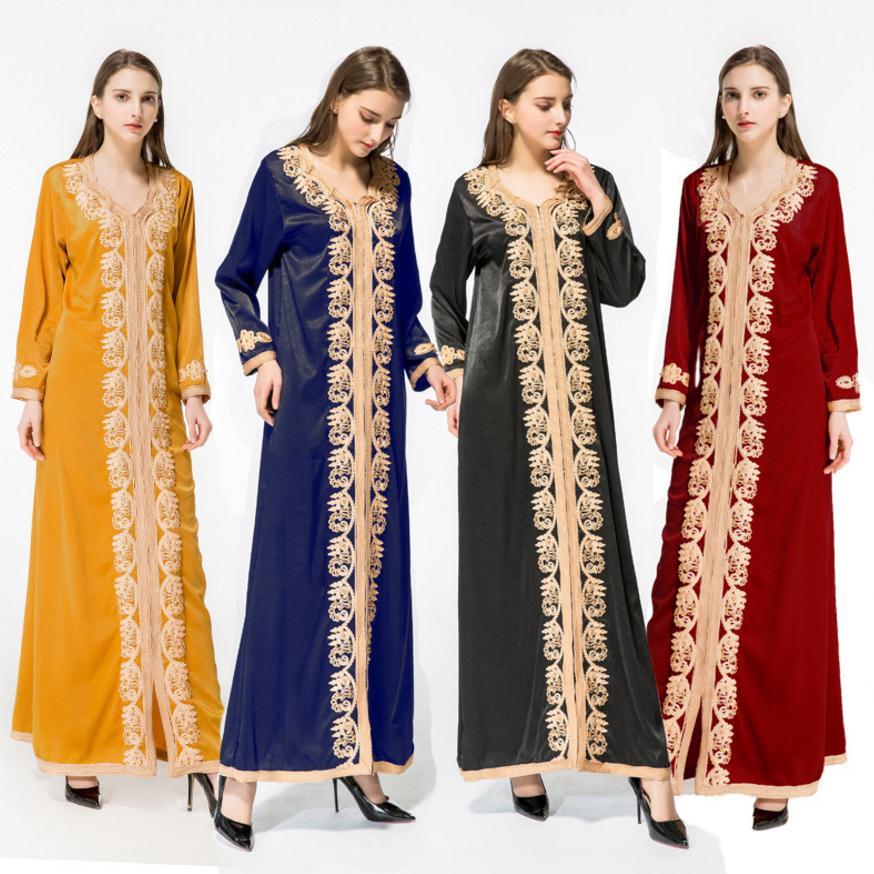 Adulte décontracté perles soie tissu Robes Musulmane dubaï mode robe Musulmane Robes chaudes arabe culte Service musulman abaya Wj2281 - 2