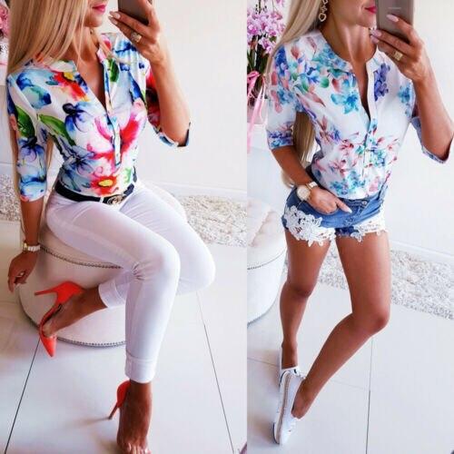 Mulheres Meia Manga Floral Blusas Soltas 2019 Verão Tops Casuais Camisa Fêmea OL Senhoras Botão Blusa Streetwear Mulher Roupas