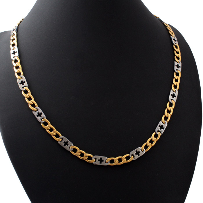 80b3f5a01cb2e حار لون الذهب فيجارو سلاسل الصليب قلادة 316l التيتانيوم المقاوم للصدأ 60  سنتيمتر للرجال نساء مجوهرات gn219 جديد