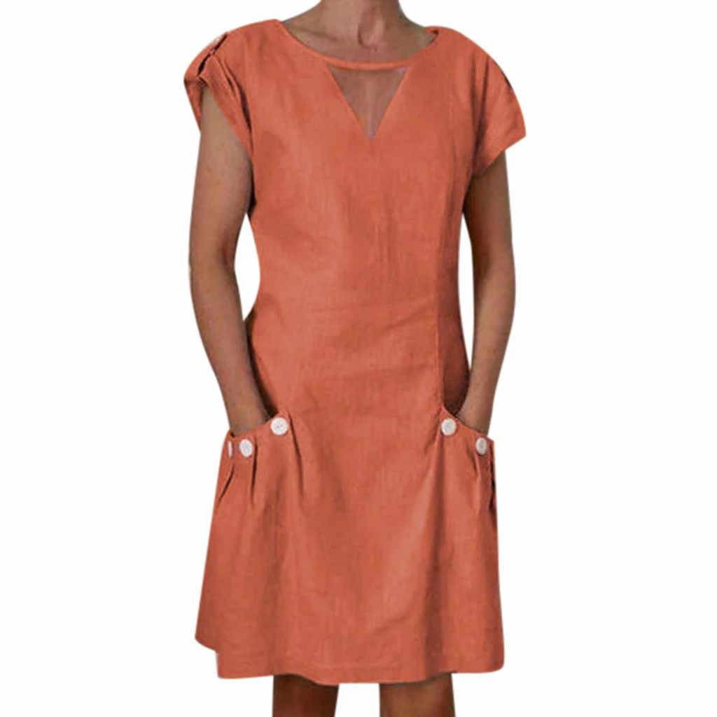 שמלת אופנה מוצק צבע נשים שמלת כפתור פוליאסטר V צוואר מיני שמלת ערב המפלגה שמלת משלוח חינם D4
