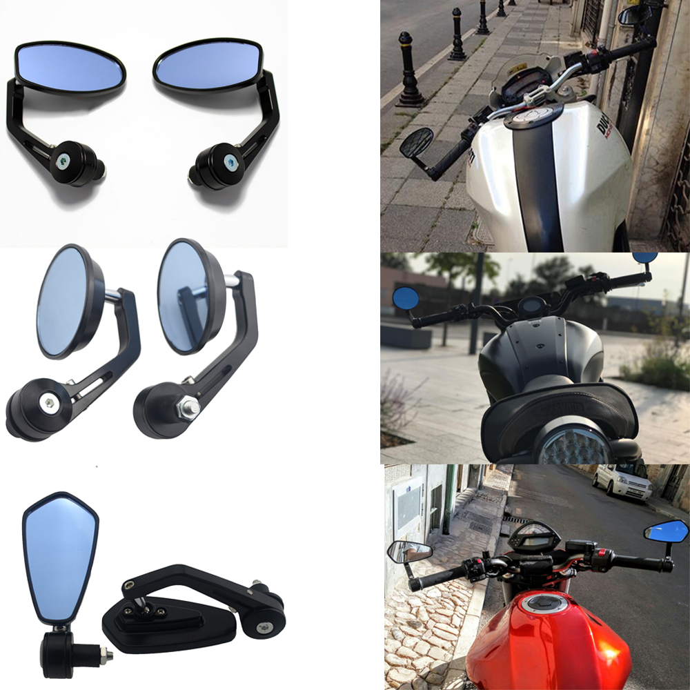 7/8 Universal Round Motorcycle Mirrors Rear View Handle Bar End Rearview Side Mirrors Oval For cafe racer