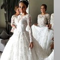 New Arrival Lace Long Sleeve Muslim Wedding Dress 2017 Vintage Court Train Ball Gown Wedding Dresses 2016 Vestido De Noiva