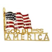 Golden Tone Rhinestone Stripes Enamel God Bless America letter USA Flag Brooch Pin