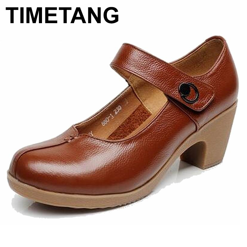 TIMETANG Spring Autumn Shoes Woman 100% Genuine Leather Women Pumps Lady Leather Round Toe Platform Shallow Mouth Shoes timetang new women flats women genuine leather shoes flat maternity bind the shallow mouth for women s shoes