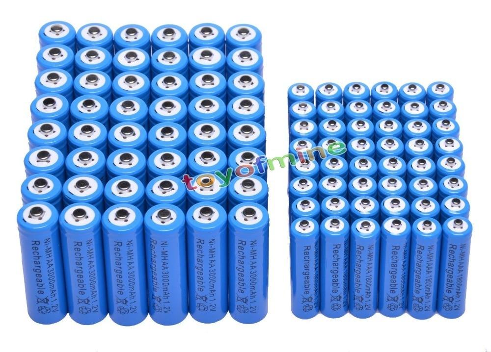 48x AA + 48x AAA 1.2 V 1800 mAh 3000 mAh NiMH bleu batterie Rechargeable