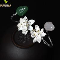 Flyleaf 2017 Natural Stone Lotus Flower Open Rings For Women Nation Style Lady 925 Sterling Silver
