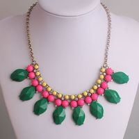 Clearance Sale New Design Exaggerated Candy Color Acrylic And Crystal Flower Bib Statement Necklace Fashion Jewelry