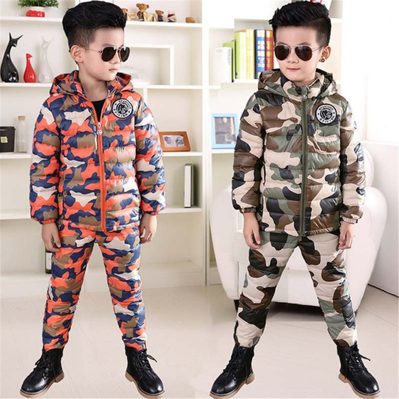 BINIDUCKLING 2018 Winter Boys Down Jacket Set Camouflage Hooded Thicken Warm Cotton Parkas+Pants Set for Kids ChildrenBINIDUCKLING 2018 Winter Boys Down Jacket Set Camouflage Hooded Thicken Warm Cotton Parkas+Pants Set for Kids Children