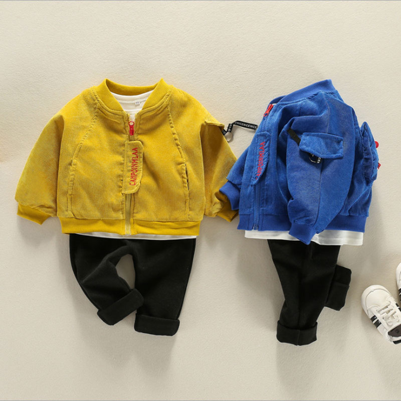 Spring Boys Baby clothing Set 1 Y Birthday 3pcs T-shirt + outerwear + Trousers suit For toddler Boy Baby's clothes Fashion Sets
