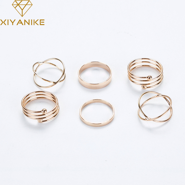 Latest Fashion Punk Stackable Midi Ring Sets For Women Bagues Ensemble Bijoux Wh
