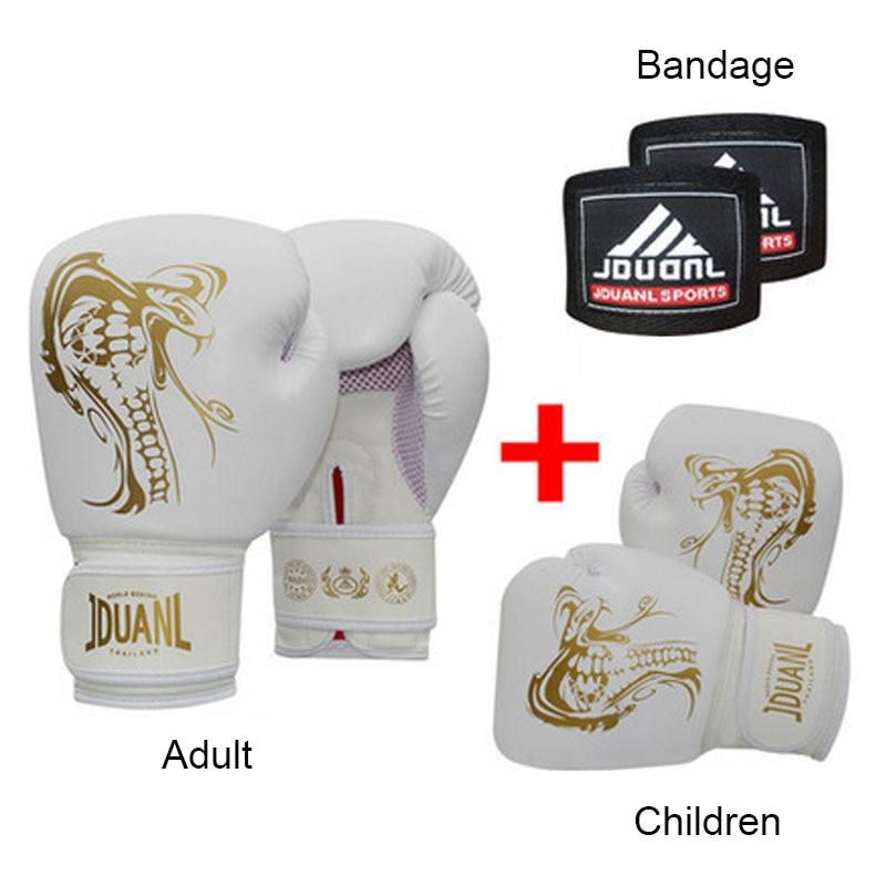 ФОТО 10oz Adult PU Muay Thai Boxing Gloves + 6oz Children Boxing Gloves 5-14 year + 100% Cotton Boxing Bandage Black