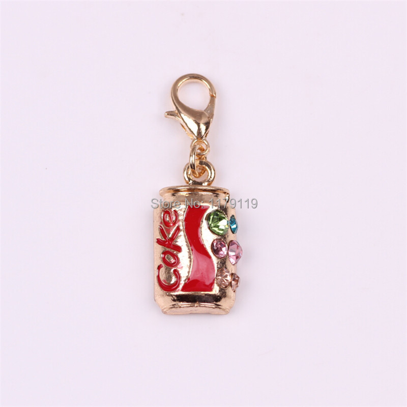 Colorized Coke Floating Locket Dangle With Rhinestone For Floating Charm Locket Dangle Soft Drink Charms CM119#