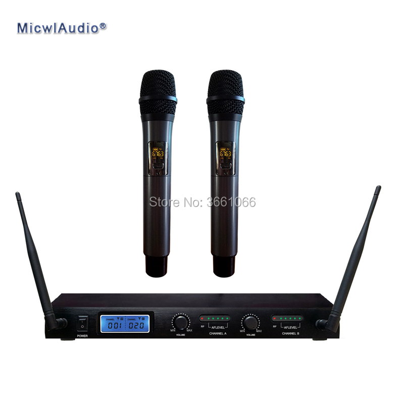 Professional Digital UHF Wireless System Conference Microphone System 2 Channel Receiver and Handheld MicwlAudio JP3310 micwl d400 uhf 4 gooseneck table uhf wireless conference microphones digital system for big meeting room