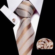 New Gold Striped men ties set Extra Long Size 145cm*8cm Necktie blue Printed Silk Jacquard Woven Neck Tie Suit Wedding Party