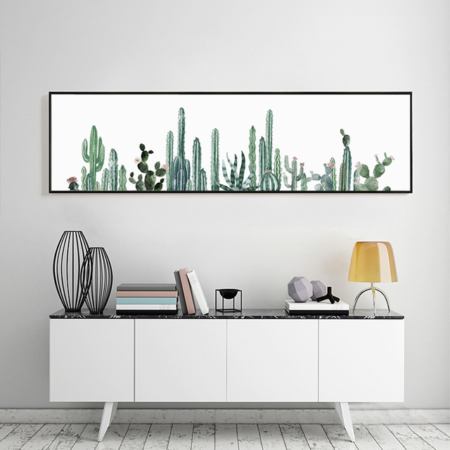 5434a99760c Canvas Print Long Painting Mini Desert plant Cactus Poster Modern Art  Picture For Home Decoration Wall
