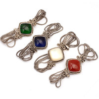 Tassel Bracelet Tibetan Silver Marcasite 25mm Stone ( Agates Crystal Shell) 7 Fashion Jewelry Gift For Women Mother Gift