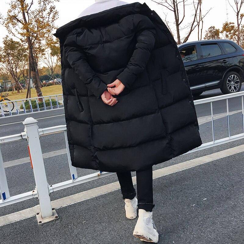 Hommes longue doudoune manteau marque de luxe hiver solide noir Parkas hommes grande taille 4XL épais chaud coupe étroite mâle pardessus - 4