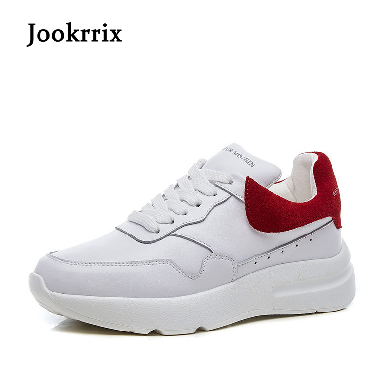 Jookrrix 2018 Spring Girl Fashion Brand Lady Casual Real Leather Shoes Women Sneaker White Shoe Flats Cross-tied Breathable Soft