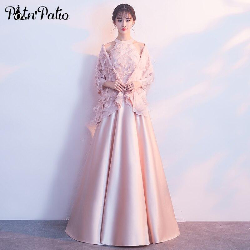 Pink Satin   Evening     Dresses   Long 2019 Halter A-line Floor-Length Formal   Dress   Women Elegant Plus Size   Evening   Gown With Jacket