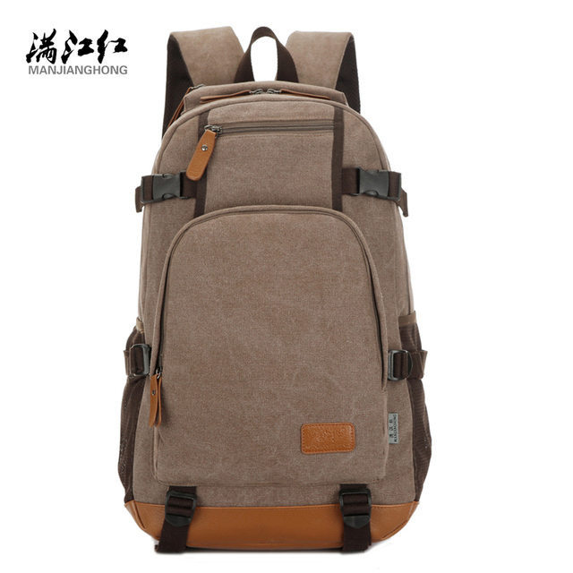 Manjianghong fashion canvas men's travel duffle daily backpacks for laptop Korean style vogue versatile classic youth school bag
