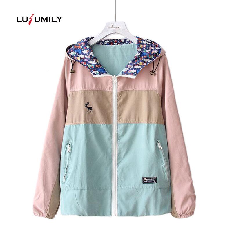 Lusumily Harajuku Coats And   Jackets   Women Long Sleeve Two-sided Wear Patchwork Onesize Zipper Hooded   Basic     Jacket   Windbreaker
