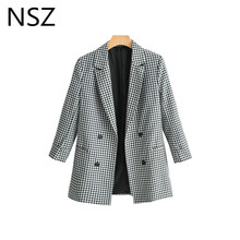 NSZ Women Black and White Plaid Suit Blazer Double Breasted Long Sleeve Office Work Jacket