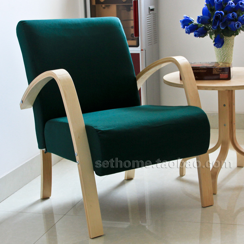 IKEA Style Fabric Sofa Chair Of The Nordic European Small Family Leisure  Sofa Single Sofa Chair Dark Green In Restaurant Chairs From Furniture On ...