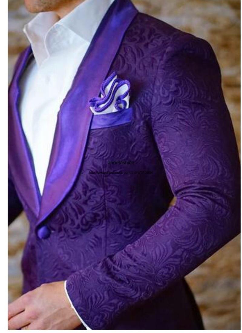 Dashing Fashion Mens Suits Purple Paisley Groom Tuxedos Groomsmen Wedding Party Dinner Best Man Suits Blazer (jacket+pants+tie) K:1866