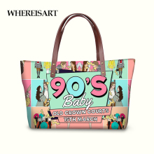 купить WHEREISART New Arrival Women Handbags Tote Shoulder Bags for Ladies 90's Baby Print Women Bag Hand Bags Femme Bolsas de Mujer в интернет-магазине