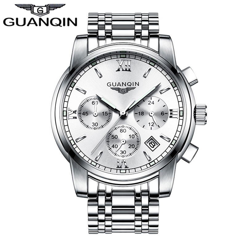 ФОТО GUANQIN GS19018 Men watches Original top brand steel mens luminous waterproof Wristwatch multifunctional fashion watch
