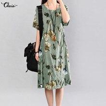 Cellumia, винтажное женское летнее платье, сарафаны, Vestidos, короткий рукав, Свободный цветочный принт, повседневные пляжные платья миди размера плюс