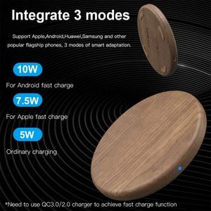 Image 3 - Chargeur rapide sans fil KEYSION 10W Qi pour iPhone 11 Pro XS Max XR 8 Plus chargeur sans fil en bois pour Samsung S20 S10 S9 S8