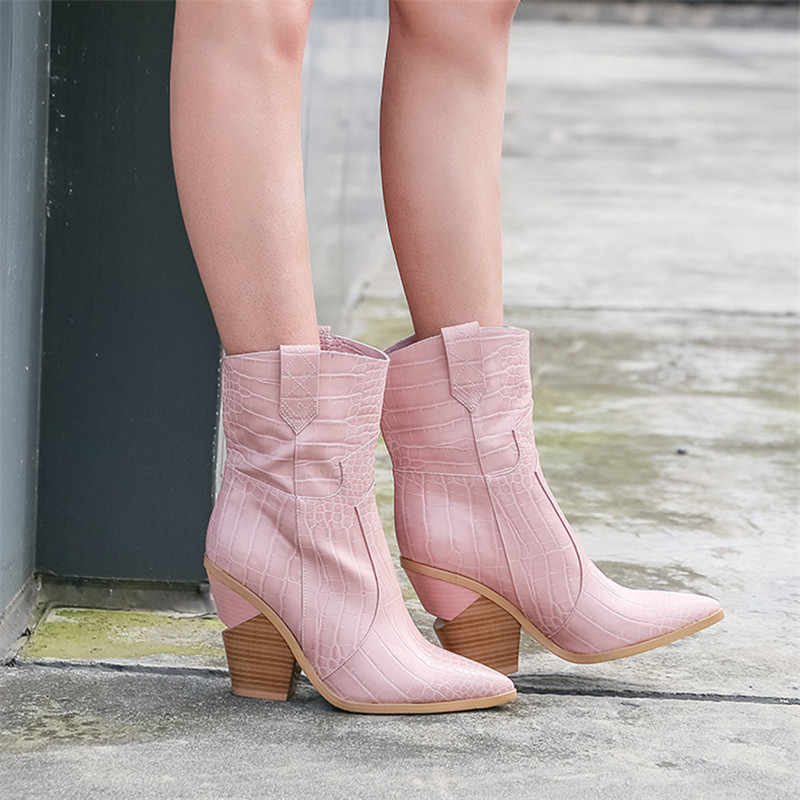 Big Size 34-44 Brand 2020 New Women Boots High Quality Faux Leather Pink Short Western Boots Women Wedges High Heels Ankle Boots
