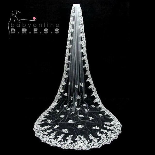 Veu De Noiva Longo  Meters Appliques Lace Edge Bridal Veil White Ivory Wedding Accessories Cathedral