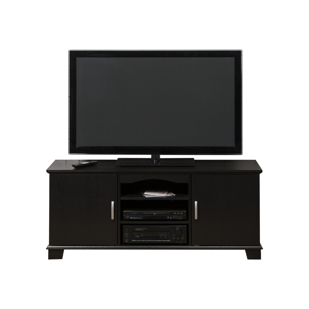 WE Furniture 60 Wood TV Media Stand Storage Console - Black crosley cambridge 60 in low profile tv stand black