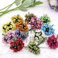 Flores artificiales de 12 piezas baratas para la decoración del hogar de la boda Pistil DIY Scrapbooking Garland artesanía flores falsas