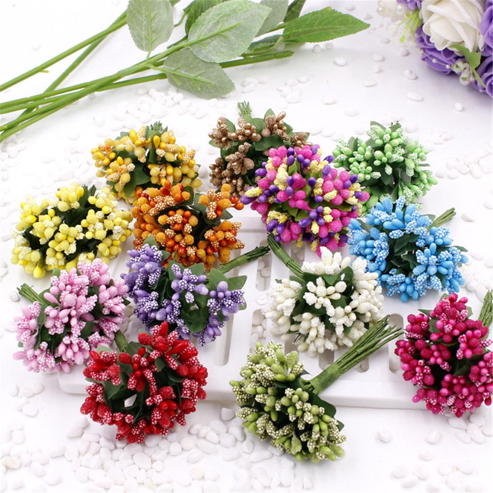 cheap 12pcs  Artificial Stamen Flower For Wedding Home Decoration Pistil DIY Scrapbooking Garland Craft Fake Flowers
