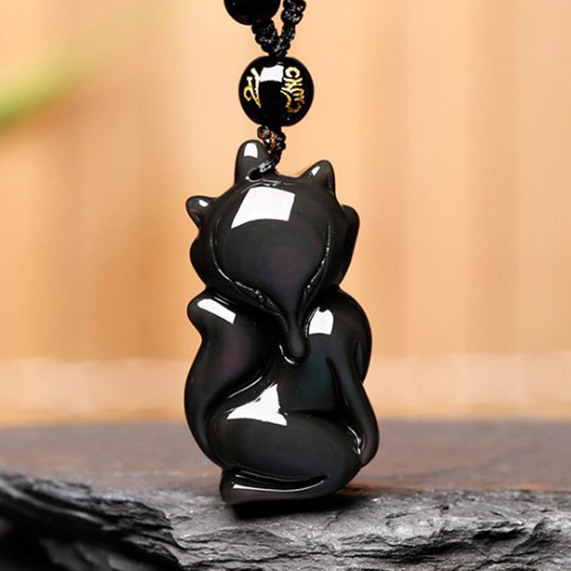 Drop Shipping Natural Rainbow Obsidian Fox Pendant Necklace For Women Men Lucky Amulet Necklace Crystal Fine Jewelry Gifts