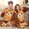 Winter new fashionable leisure warm cute coral velvet home service couples long-sleeved flannel pajamas suit