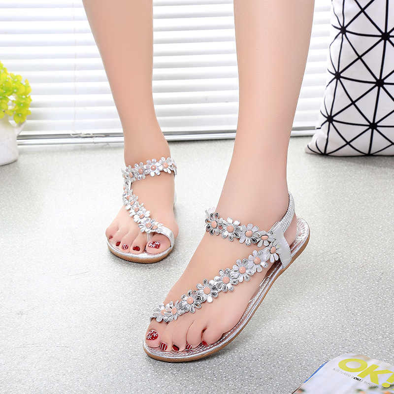 e23305ff45d286 ... Bohemian Flower Flip Flops Women Sandals 2018 Summer Flat Shoes Woman  Solid Casual Ladies Sandals Fashion ...