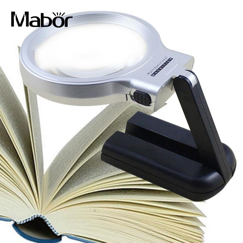 10LED Magnifier Foldable Desk Lamp Desktop Lighting With Magnifying Glass Wooden
